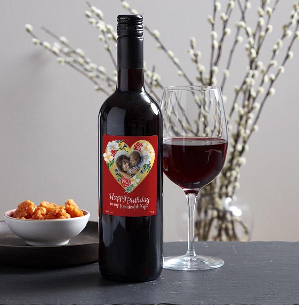 Happy Birthday Wife Photo Upload Red Wine