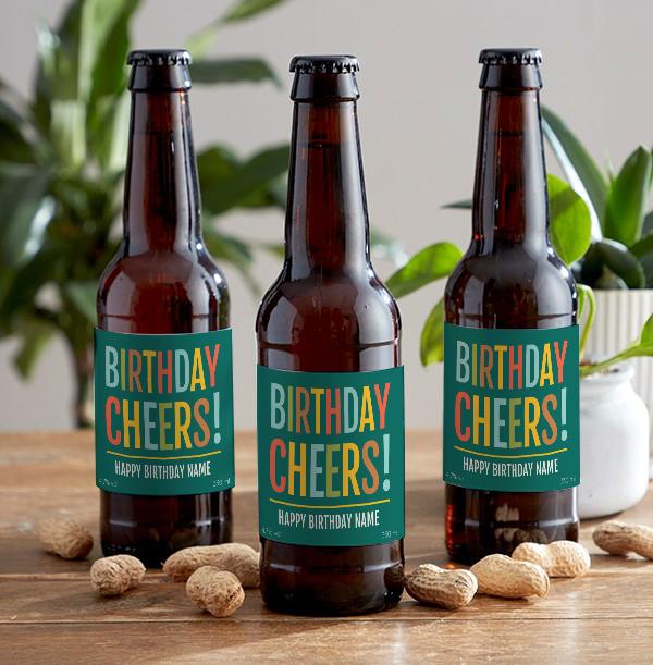 Birthday Cheer Personalised Lager Bottles - Multi Pack