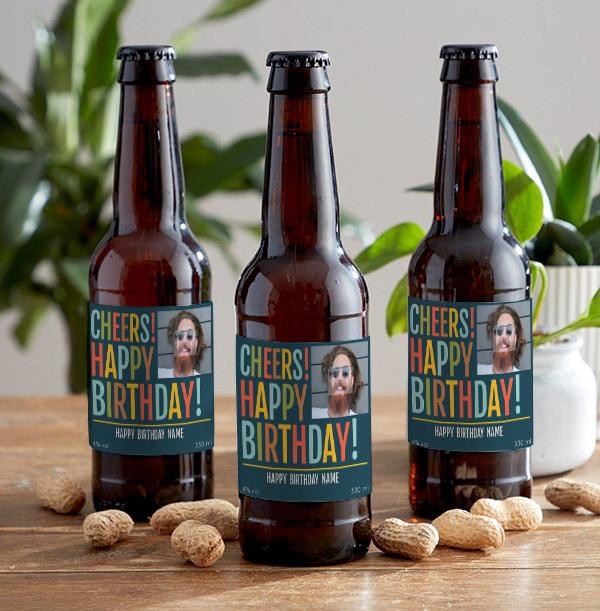 Happy Birthday Photo Upload Lager Bottles - Multi Pack