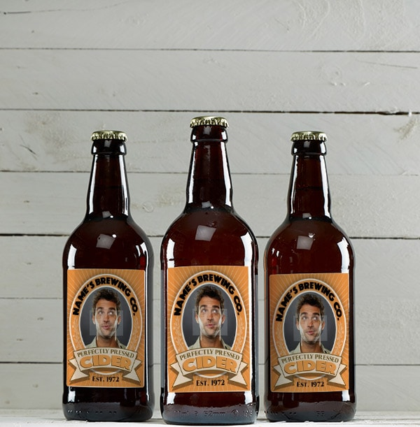 Multi Pack of Personalised Medium Cider Bottles