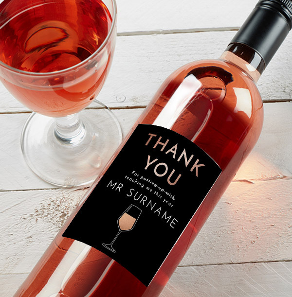 Thank You Teacher Rose Wine - Personalised