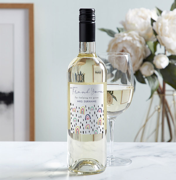 Thank You Teacher White Wine - Personalised