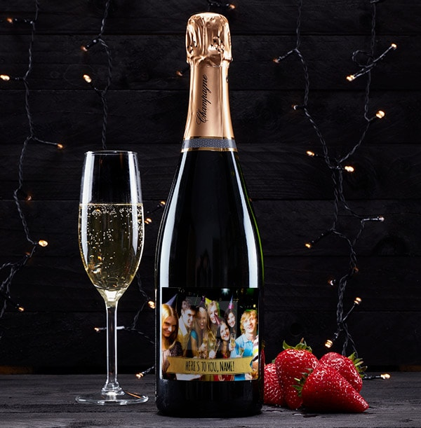 Personalised Champagne Brut With Photo & Text