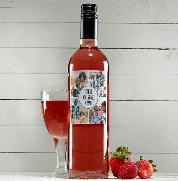 Multi Photo & Text Personalised Rosé Wine