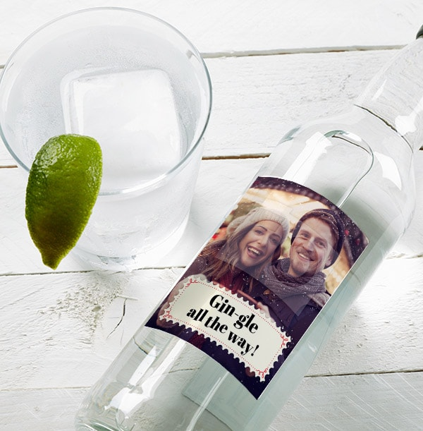 Christmas Stamp Personalised Photo London Dry Gin