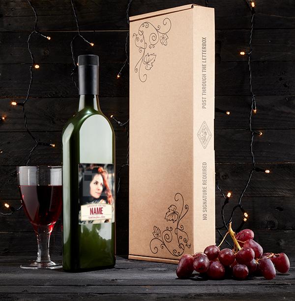 Personalised Photo Upload Letterbox Wine - Tempranillo