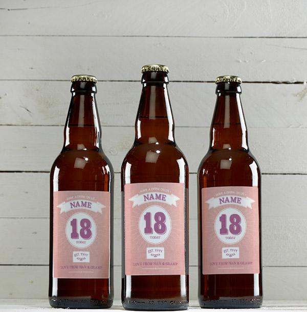 18 Today Pink Personalised Beer - Multi Pack