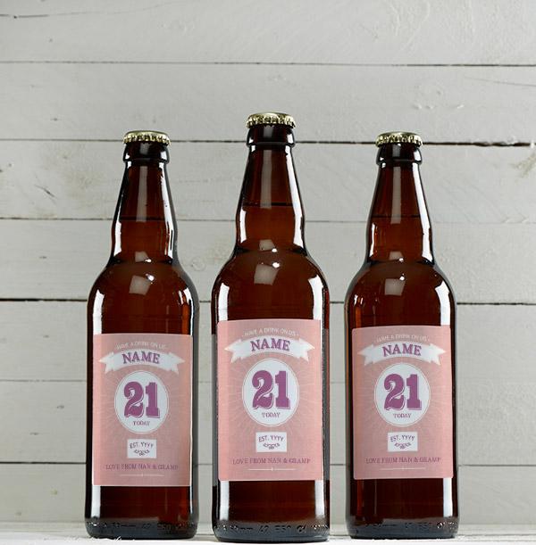 21 Today Pink Personalised Beer - Multi Pack