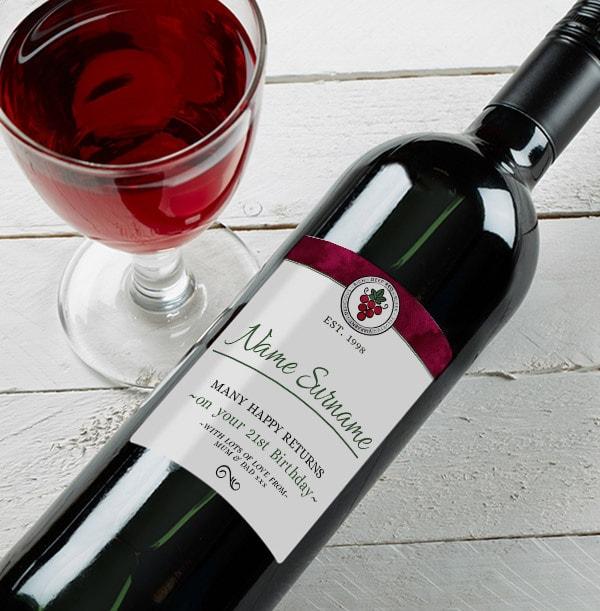 Personalised Birthday Red Wine Bottle