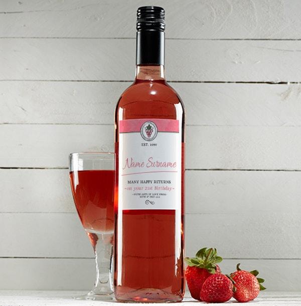 Personalised Birthday Rose Wine Bottle