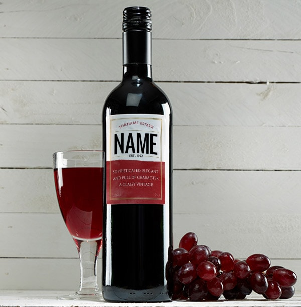 Personalised Red Wine Bottle