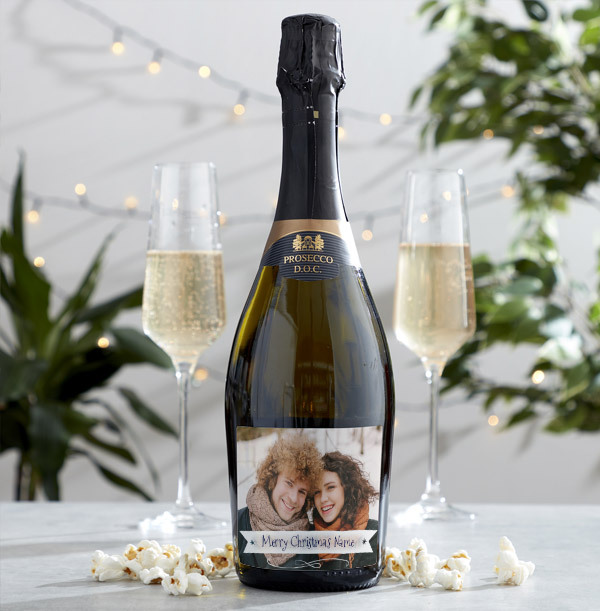 Personalised Christmas Photo Prosecco
