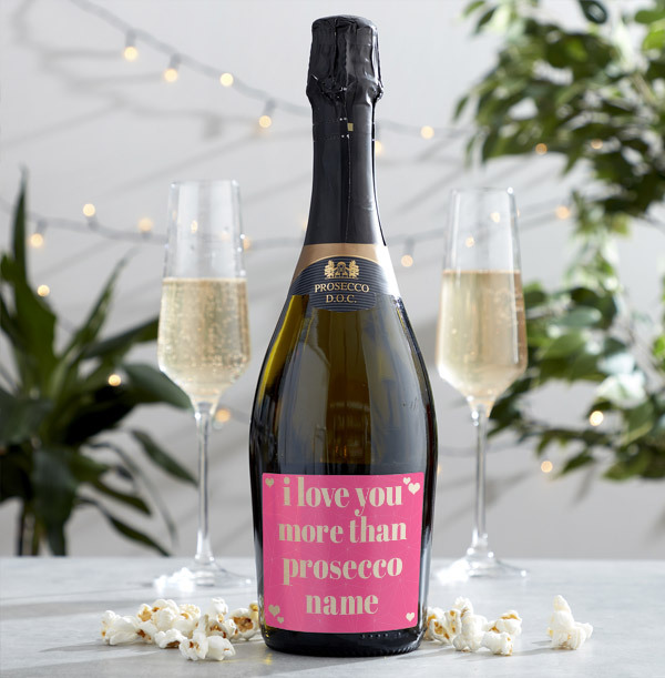 Pink Love You More Than Prosecco Personalised Bottle
