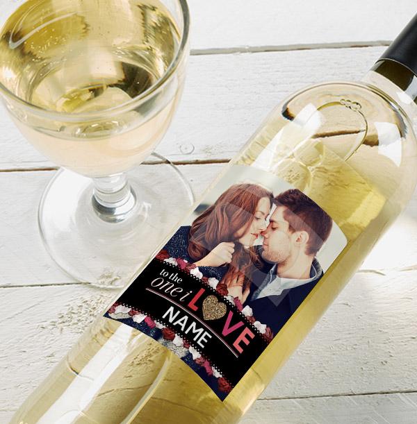 One I Love Sauvignon Blanc Photo Wine Bottle