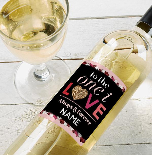 One I Love Personalised White Wine Bottle
