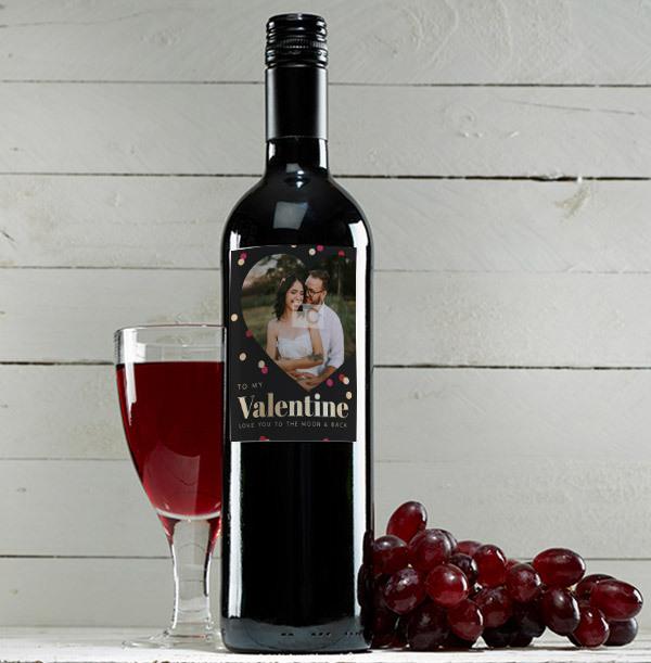 To My Valentine Personalised Red Wine - Photo upload