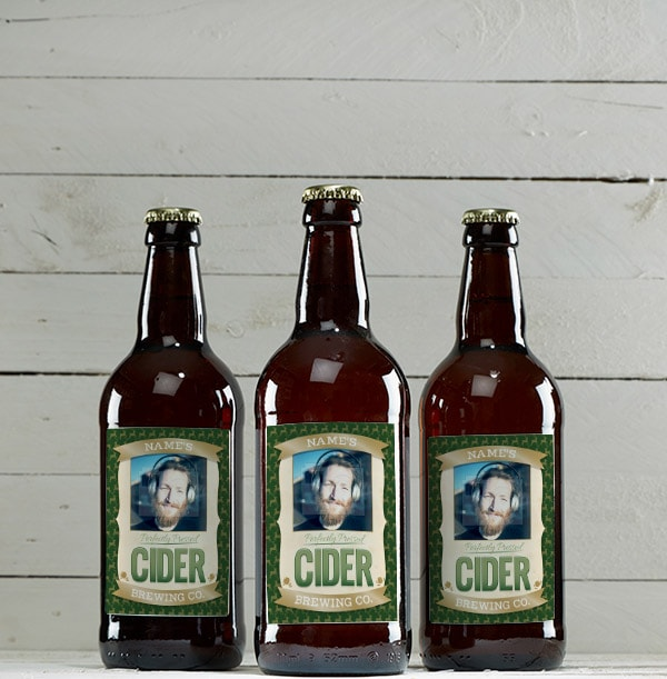 Multi Pack of Personalised Cider Bottles - Photo Upload