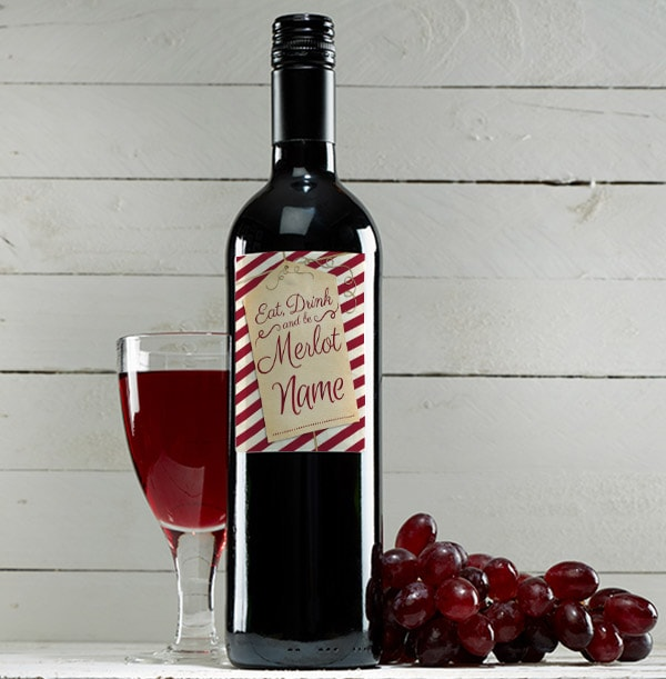 Personalised Christmas Red Wine