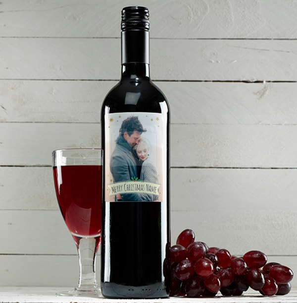 Merry Christmas Photo Red Wine Bottle  - Holly