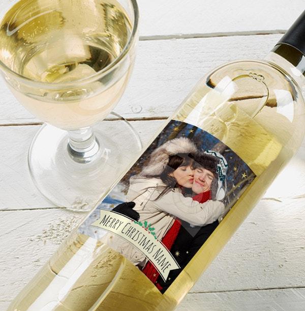 Merry Christmas Photo White Wine Bottle  - Holly