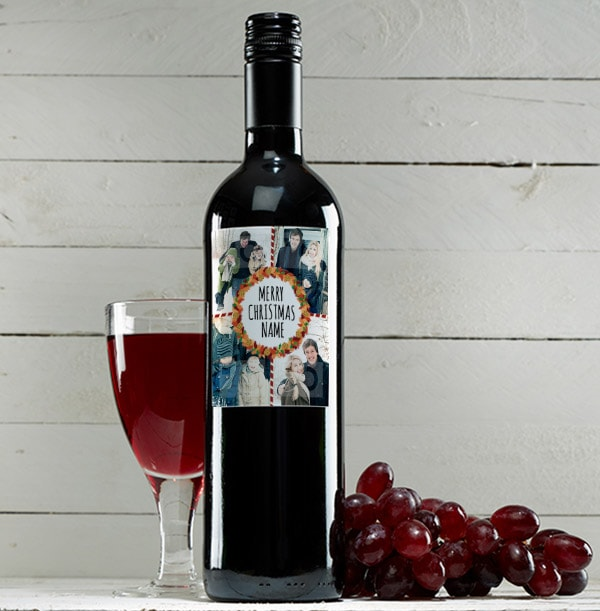 Photo Collage Merry Christmas Red Wine Bottle