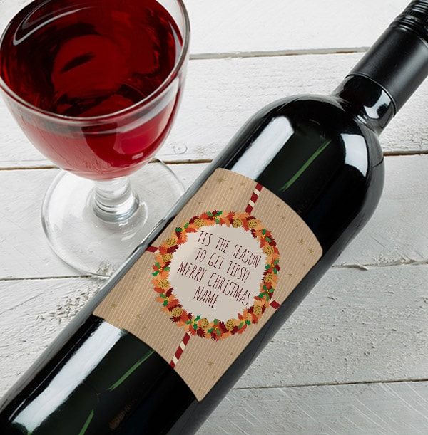 Personalised Christmas Red Wine Bottle