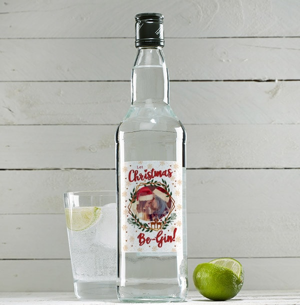 Christmas Be-Gin Personalised Photo London Dry Gin