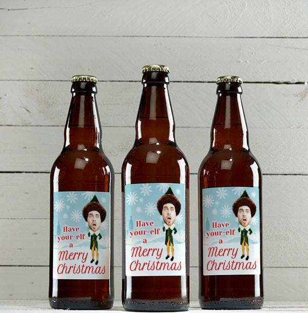 Christmas Elf Personalised Photo Beer - Multi Pack
