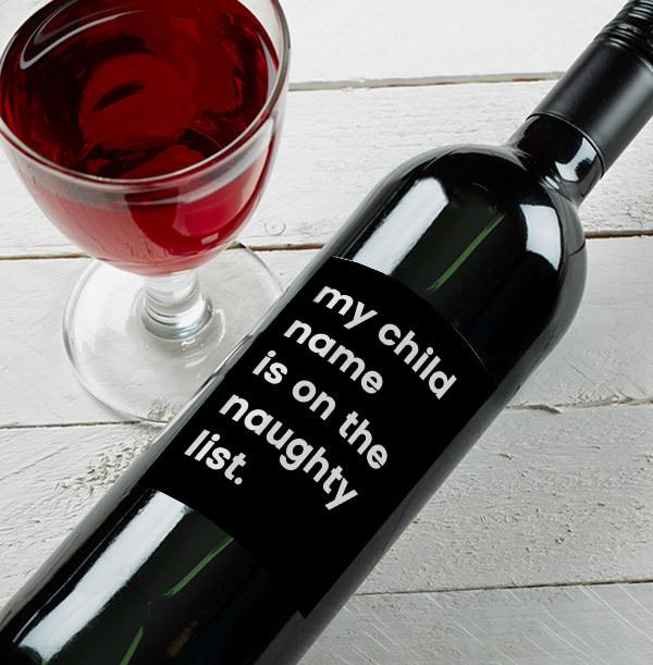 Christmas Naughty List Personalised Red Wine