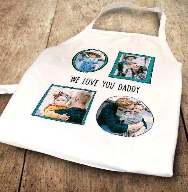 We Love You Daddy Multi Photo Apron