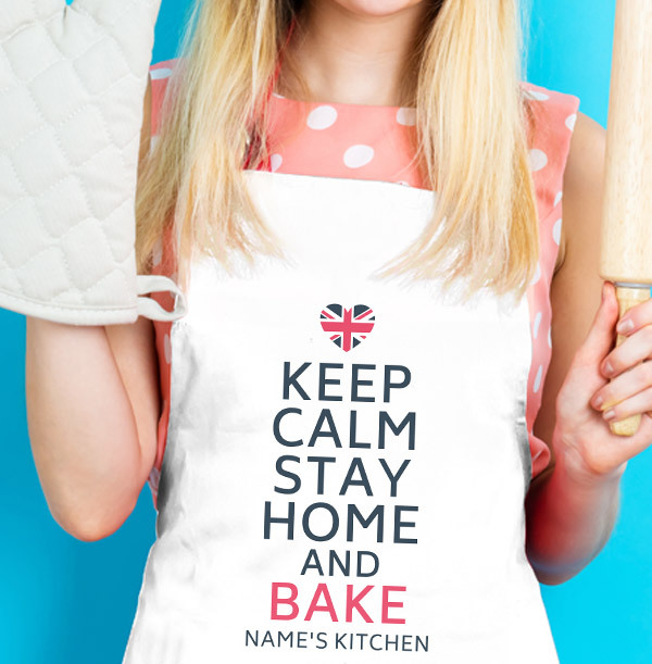 Keep Calm, Stay Home and Bake Personalised Apron