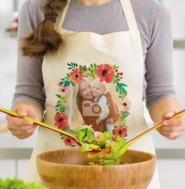 Floral Wreath Full Photo Personalised Apron