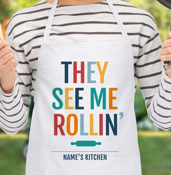 They See Me Rollin' Personalised Apron