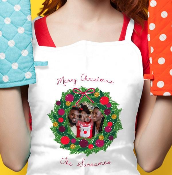 Christmas Wreath Personalised Photo Apron