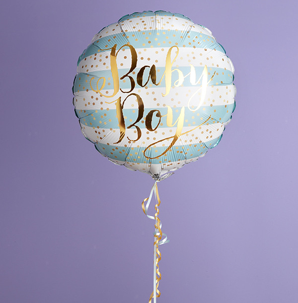 Baby Boy Gold Script Balloon