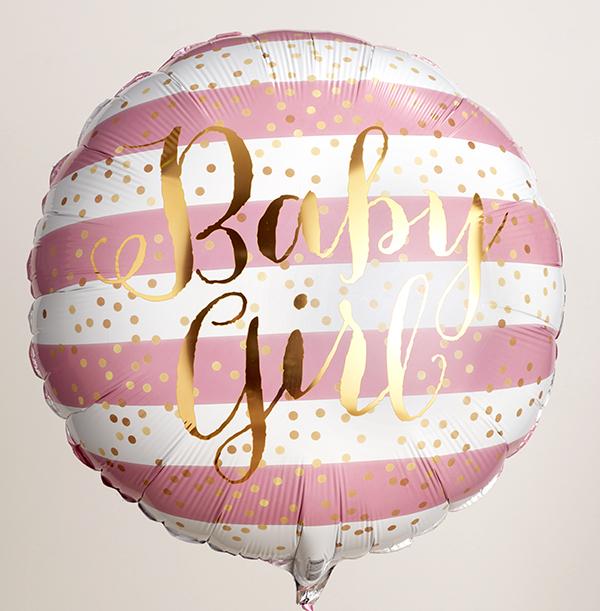 Baby Girl Gold Script Balloon