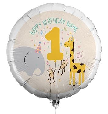 1st Birthday Personalised Animal Balloon