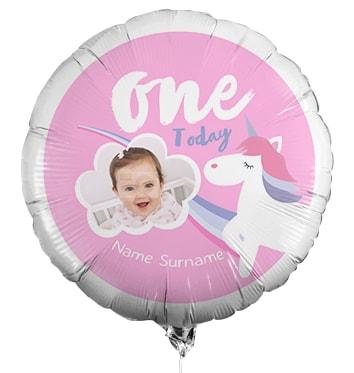 One Today Personalised Unicorn Birthday Photo Balloon