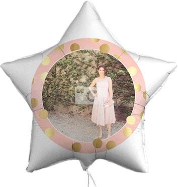 Gold Dots Personalised Photo Balloon