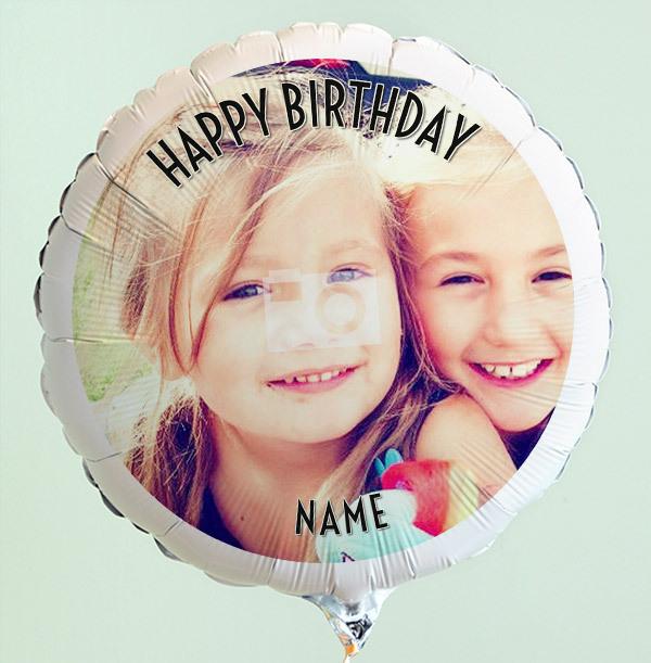 Personalised Photo Birthday Balloon - Black Text