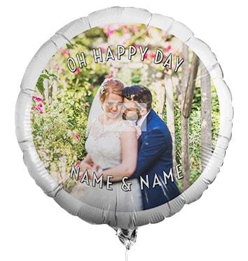 Personalised Wedding Photo Balloon - White Text