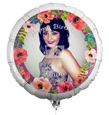 Personalised Photo Birthday Balloon - Floral Border