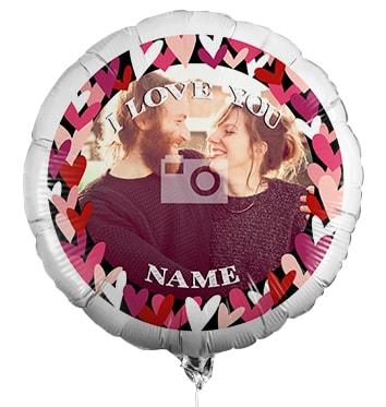Personalised Photo Balloon - Love Hearts Border
