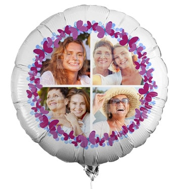 Personalised Multi Photo Balloon - Butterfly Shower