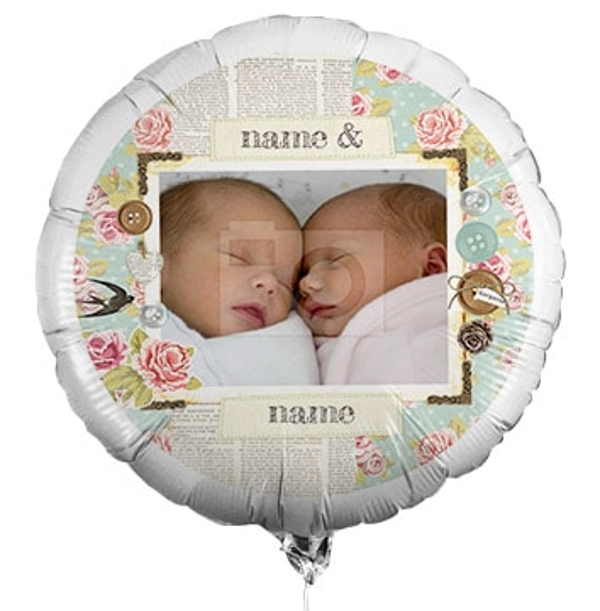 New Baby Twins Photo Balloon