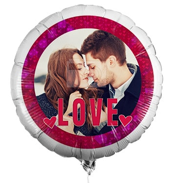 Love You Personalised Photo Balloon - Red