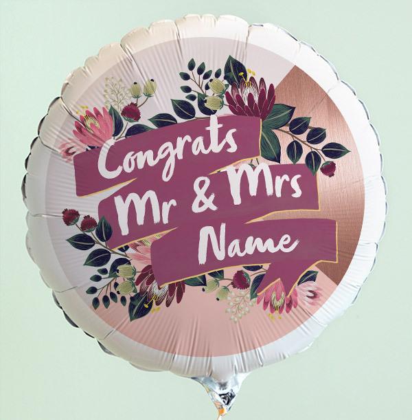 Congrats Mr & Mrs Personalised Balloon