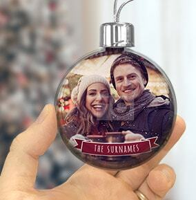 Family Photo & Text Bauble