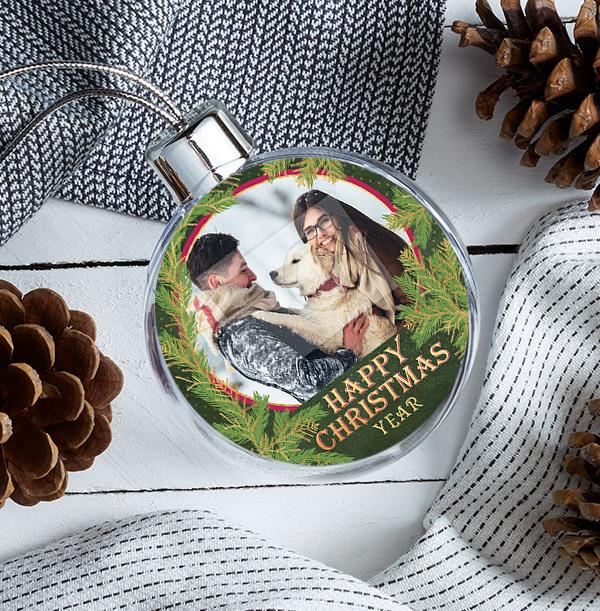 Happy Christmas Photo Bauble