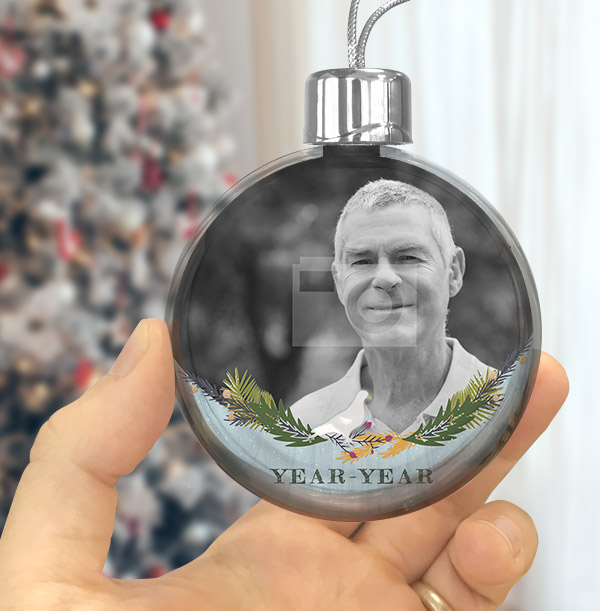 Memorial Male Photo Bauble
